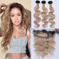 7A Brazilian Virgin Hair Body Wave 3 Bundles With Closure Ombre #1B/27 Ear to Ear 13x4 Lace Frontal Closure Natural Hairline