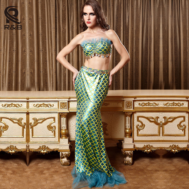 adult women fantasia mermaid tail costume sexy adult ariel mermaid dress cosplay sea maid halloween costume - Cheap Halloween Dresses