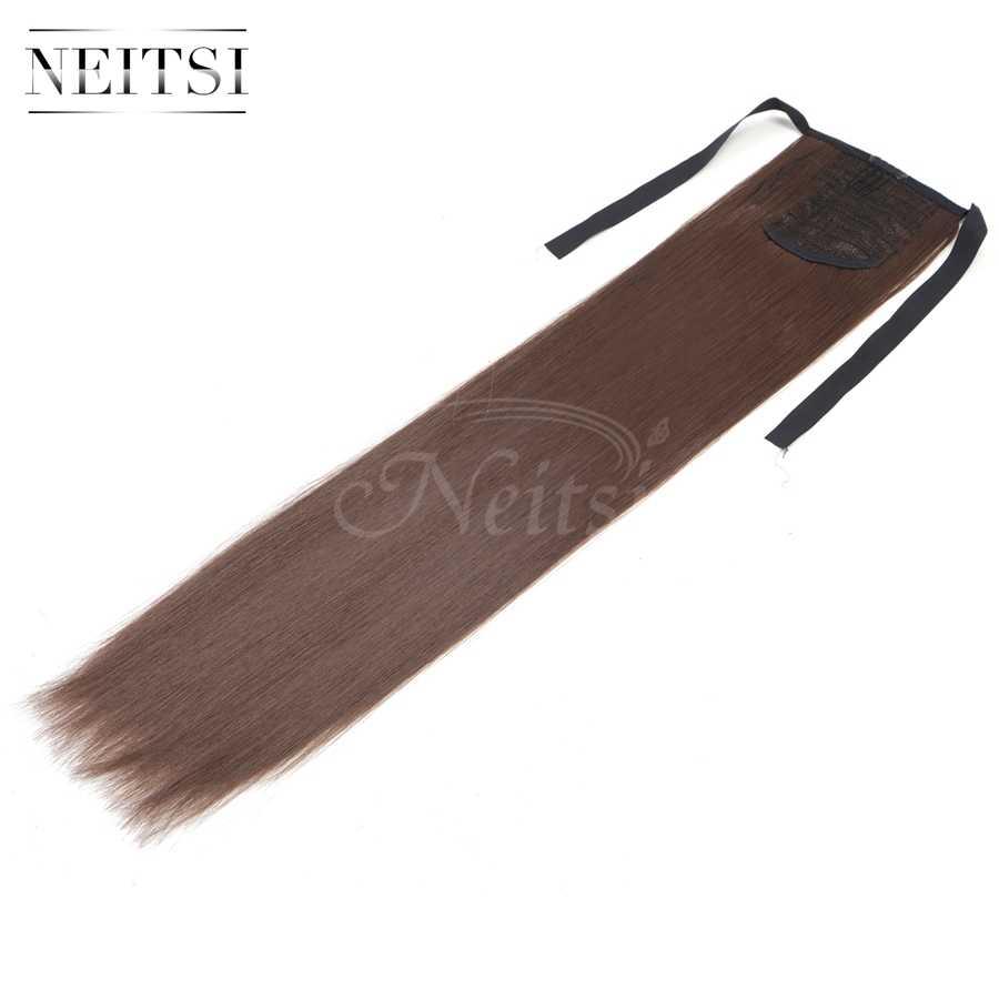 Neitsi 22 ''1 PC Ekor Kuda Rambut Ekstensi Lurus Klip Sintetis Serut Hairpieces Ekor Kuda Rambut Ekstensi untuk Wanita