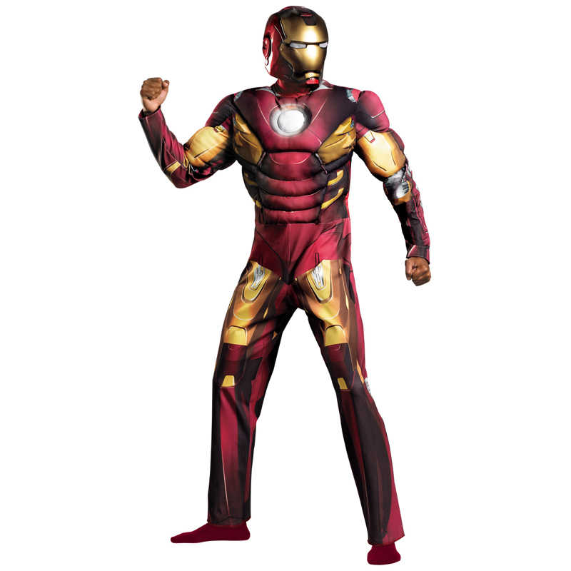 Na Venda Adulto Fantasia Filme de Super-heróis da Marvel Avengers Iron Man Muscle Halloween Costume Fancy Dress Cosplay Roupas