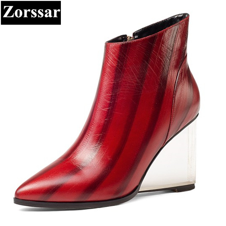 {Zorssar} 2017 NEW large size ladies shoes pointed Toe wedges ankle boots High heels Genuine Leather womens short boots winter 2015 new design womens wedges heels pumps fashion pointed toe wood heel single shoes large size thick heels ladies shoes 34 43