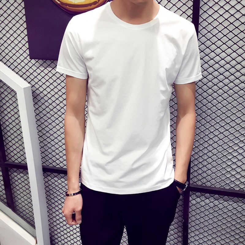 트렌디 남성 T 셔츠 캐주얼 루즈 반소매 슬림 남성 기본 탑스 티셔츠 여름 스트레치 솔리드 티셔츠 남성 의류 화이트