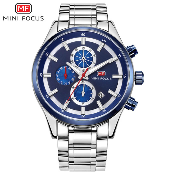 Top Brand Luxury Men Chronograph Stainless Steel Business Quartz Watch Men Clock Man Sports Watches MINI FOCUS relogio masculino watches men luxury brand chronograph quartz watch stainless steel mens wristwatches relogio masculino clock male hodinky