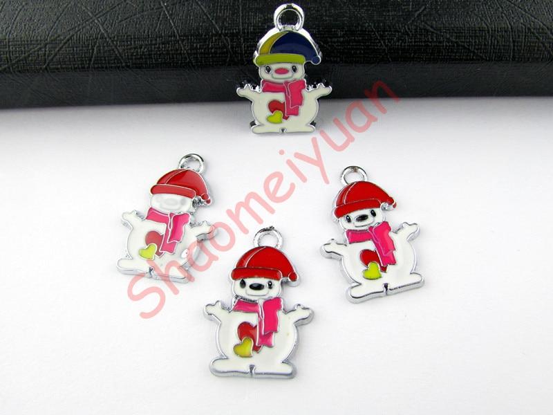 ECM27 Mix Color 20Pcs Alloy Metal Enamel Christmas Snowman Charms Pendants 26x18.5mm