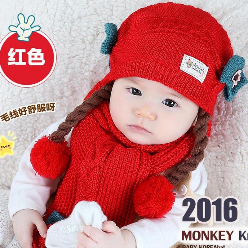 Doitbest корейский Поддельные косы детские вязаные шапки зима два цветка 2 шт детский шарф для девочки шляпа Набор Возраст 6 месяцев-2 лет - Цвет: Красный