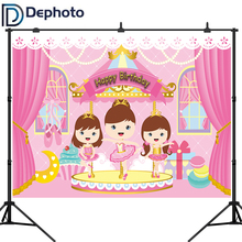 DePhoto Girl Birthday Photography Backdrops Pink Background Curtains Party Decoration a Photo Camera Photographic Professional