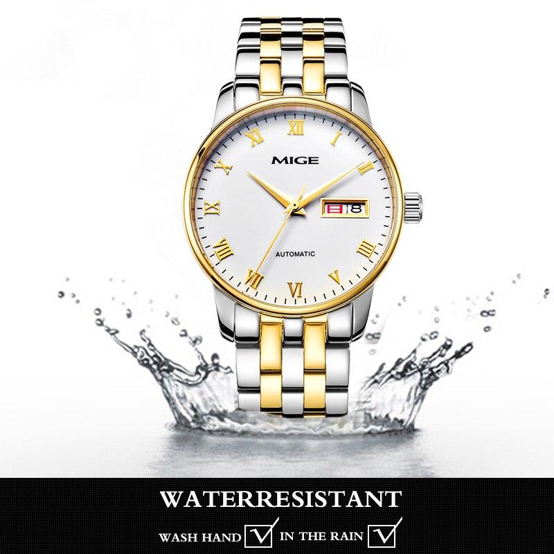 Ossna новые 42 мм Мужские Топ Роскошные часы золотой чехол белый циферблат Дата moon phase многофункциональные Мужские автоматические часы - 6