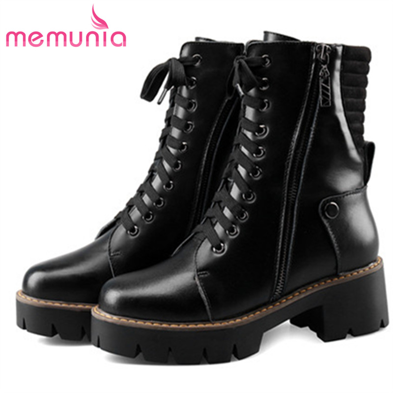 MEMUNIA Big size 34-43 genuine leather boots woman fashion shoes ankle boots punk spring autumn boots female platformMEMUNIA Big size 34-43 genuine leather boots woman fashion shoes ankle boots punk spring autumn boots female platform