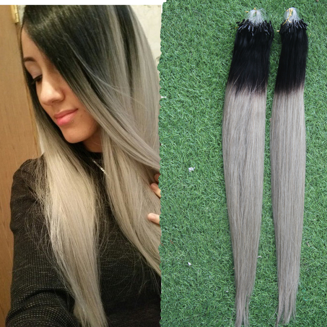 Silver Gray Hair Extensions Ombre Micro Loop Hair Extensions 100g