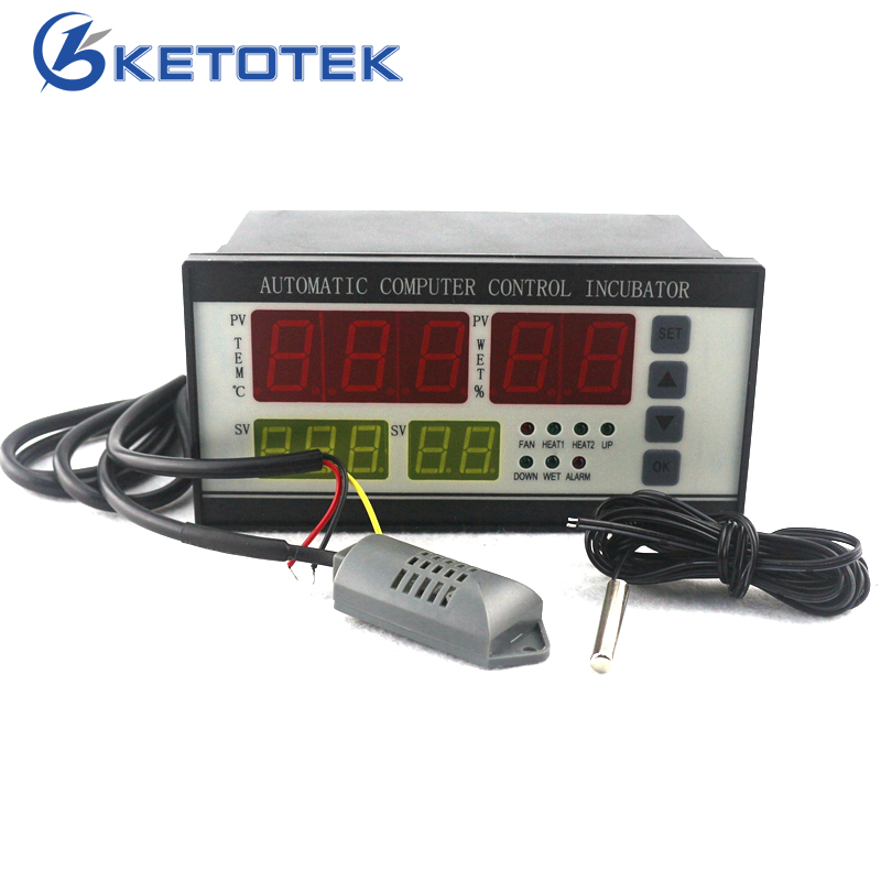 AC 180V ~ 240V 50Hz XM-18 Incubator Controller Thermostat Hygrostat 0 ~ 99.9 C with Temperature Humidity Sensor for Egg Brooder digital tdk0302la humidity temperature controller 220v led display home egg incubator farming thermometer cn902 thermostat