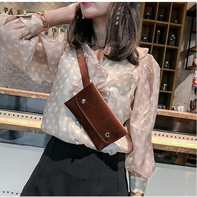 0154ba2a72c placeholder Winter Velvet Women s Waist Bag Fashion Designer Purse Women s  Thin Belt Bag Small Casual Funny Packs