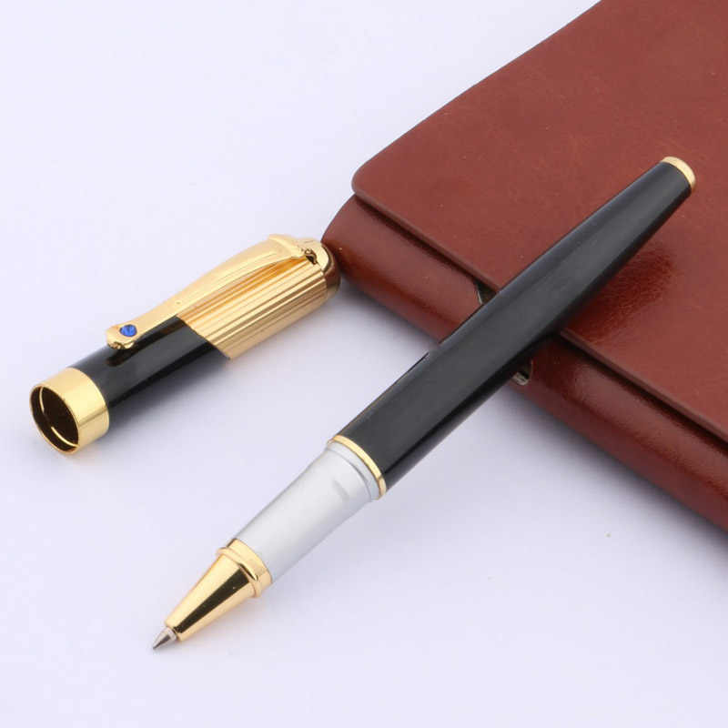 BLACK AND GOLDEN Blue diamond decoration 9009 metal GOLDEN Trim ROLLER PEN