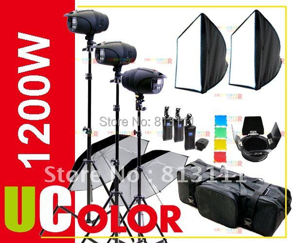 1200W Strobe Studio Flash Lighting Kit  3 x 400W Fan Cooled Light Photography|light|light steel bike frame|photography led light - title=