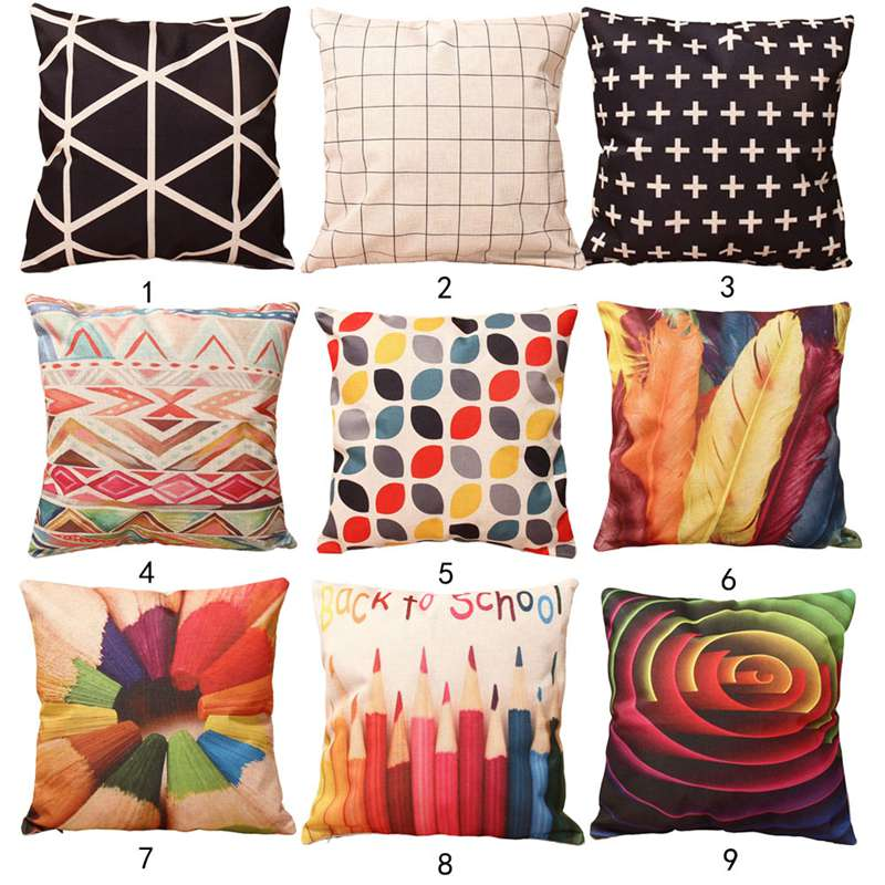 43*43cm 9 Styles Home Colorful Geometry Nature Home Cotton Linen Throw  Pillow Case Cover Small Pillowcase Free Shipping