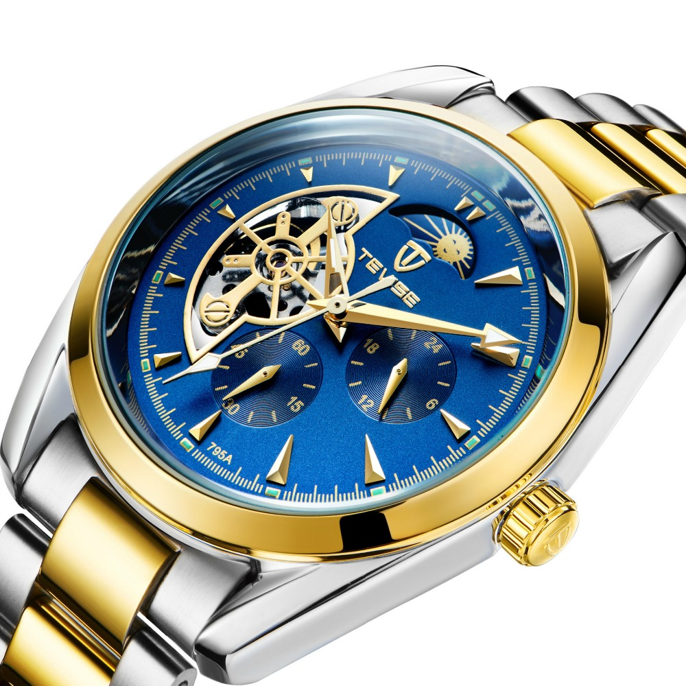 TEVISE 2017 Men Skeleton Tourbillon Mechanical Watch Automatic Mens Classic Gold Stainless Mechanical Wrist Watches Reloj Hombre