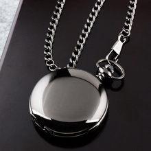 2020 Retro moda gümüş pürüzsüz Steampunk kuvars cep saati paslanmaz çelik kolye 30CM zincir erkekler kadınlar için cep saati