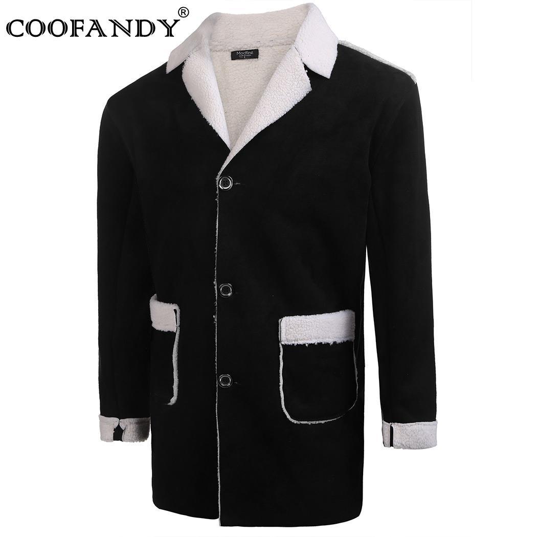 Best buy ) }}Fuax Winter Warm Lapel Men Suede Single-breasted Coat w/ Fleece Lined