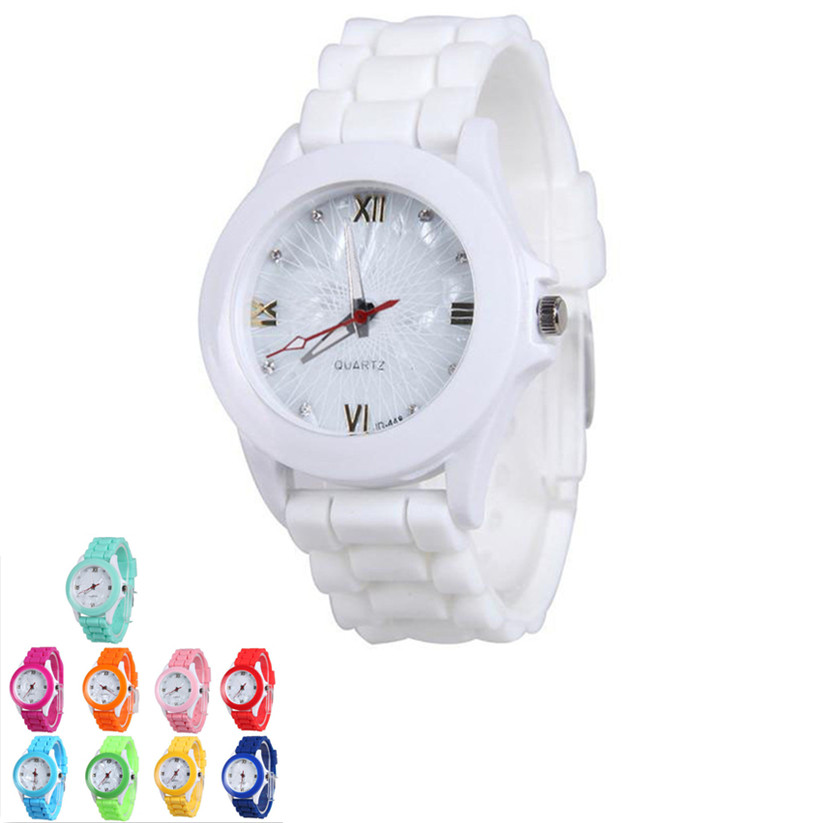 Womens Quartz Watches 1 PC Silicone Rubber Jelly Gel Analog Wrist Watch Candy Color Casual Ladies Sports Watches Wholesale 40M16