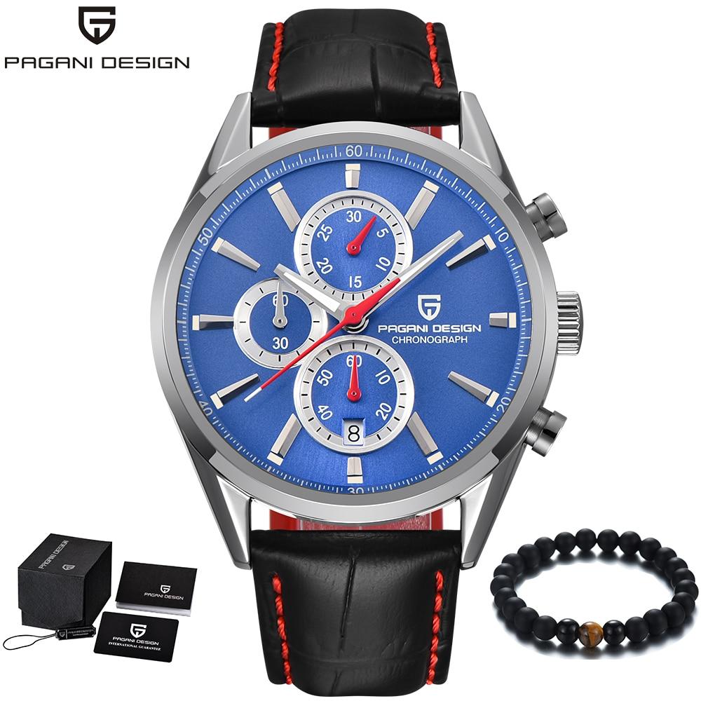 PAGANI Design แบรนด์หรูผู้ชายนาฬิกาหนัง Band แฟชั่น Blue นาฬิกาผู้ชายควอตซ์นาฬิกาข้อมือธุรกิจผู้ชายนาฬิกา relojes hombre-ใน นาฬิกาควอตซ์ จาก นาฬิกาข้อมือ บน   1