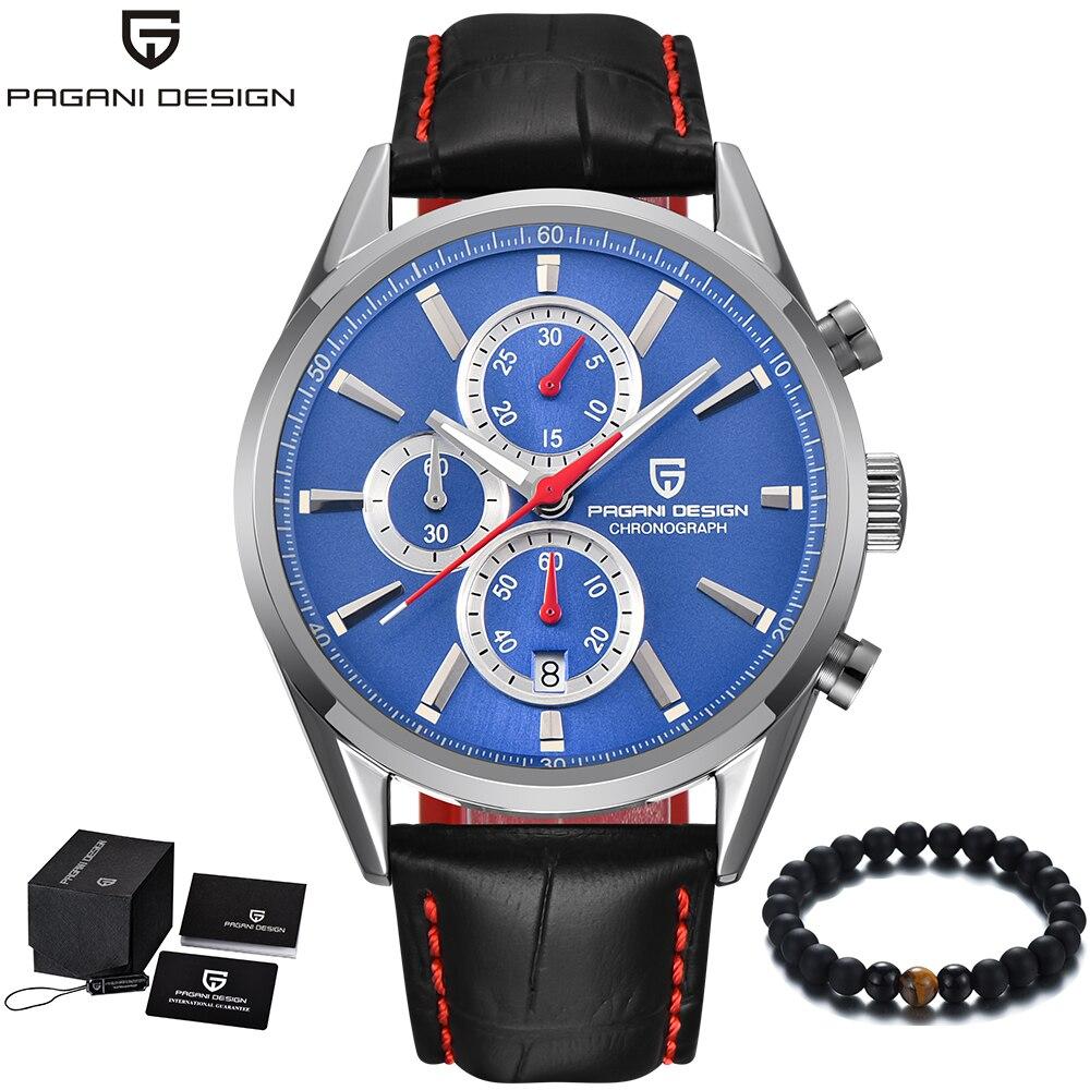 PAGANI Design de luxe marque hommes montres bracelet en cuir mode bleu montre hommes Quartz affaires montre-bracelet hommes horloge relojes hombre