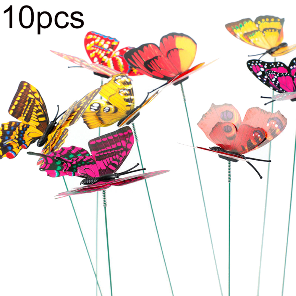 10Pcs Butterflies Homes Garden Decoration Outdoor Yards Planters Colorful Simulation Stick Butterfly Ornament Flower Pot Decor