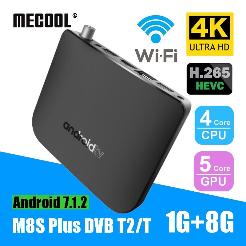 MECOOL DVB-T2 M8S Plus W Android Combo TV Box Amlogic S905D 4-Core 1 GB 8 GB décodeur 2.4G WiFi 4 K HD 1080 P IPTV lecteur multimédia