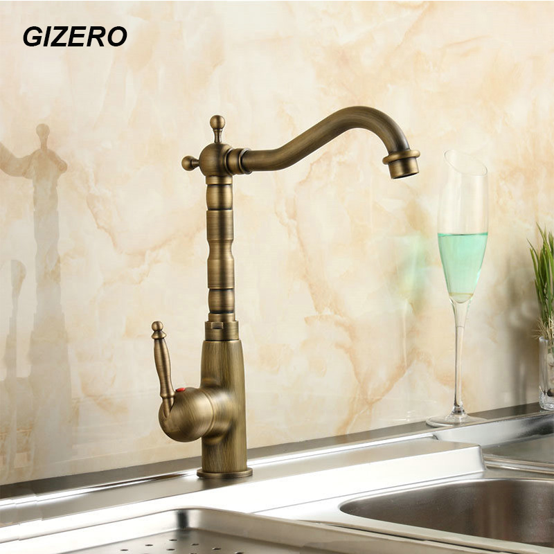 Antique Brass Faucet Kitchen Sink Mixer Swivel Spout Bathroom Basin Tap torneira Deck Mounted grifo ZR103 free shipping kitchen faucet torneira wall mounted antique brass swivel bathroom basin sink mixer tap crane yt 6035