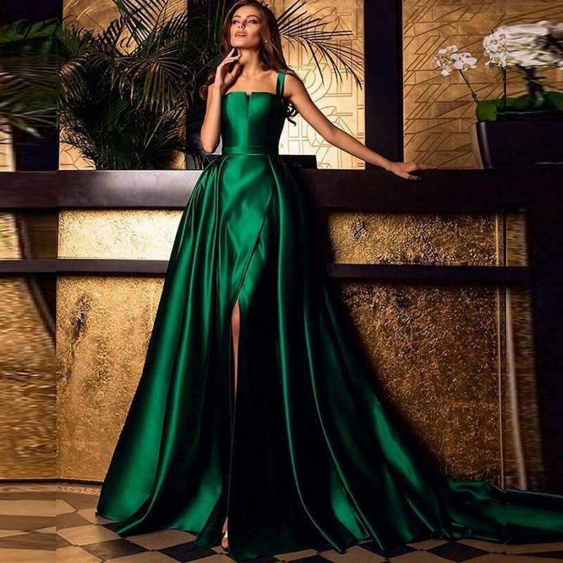 PEORCHI   Prom     Dress   Satin 2019 Long Elegant Party Gowns For Women Saudi Arabia Emerald Green Evening   Dress   Detachable Skirt