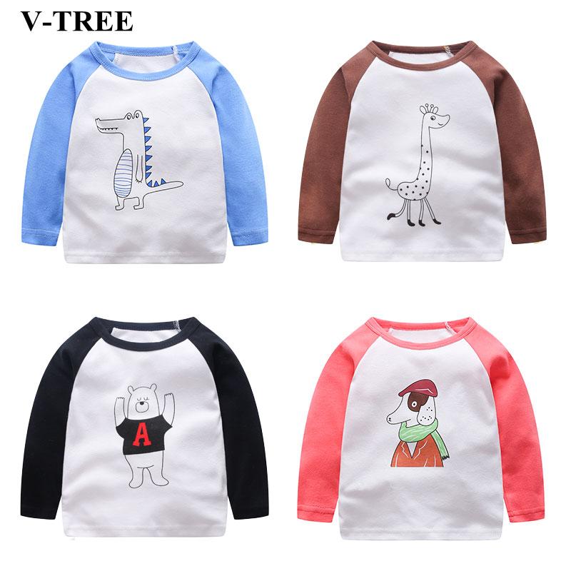 V-TREE Baby T-shirt Cotton Girl Tops Cartoon Long Sleeved Blouses Kids T-shirt Baby Clothing twist open v back t shirt
