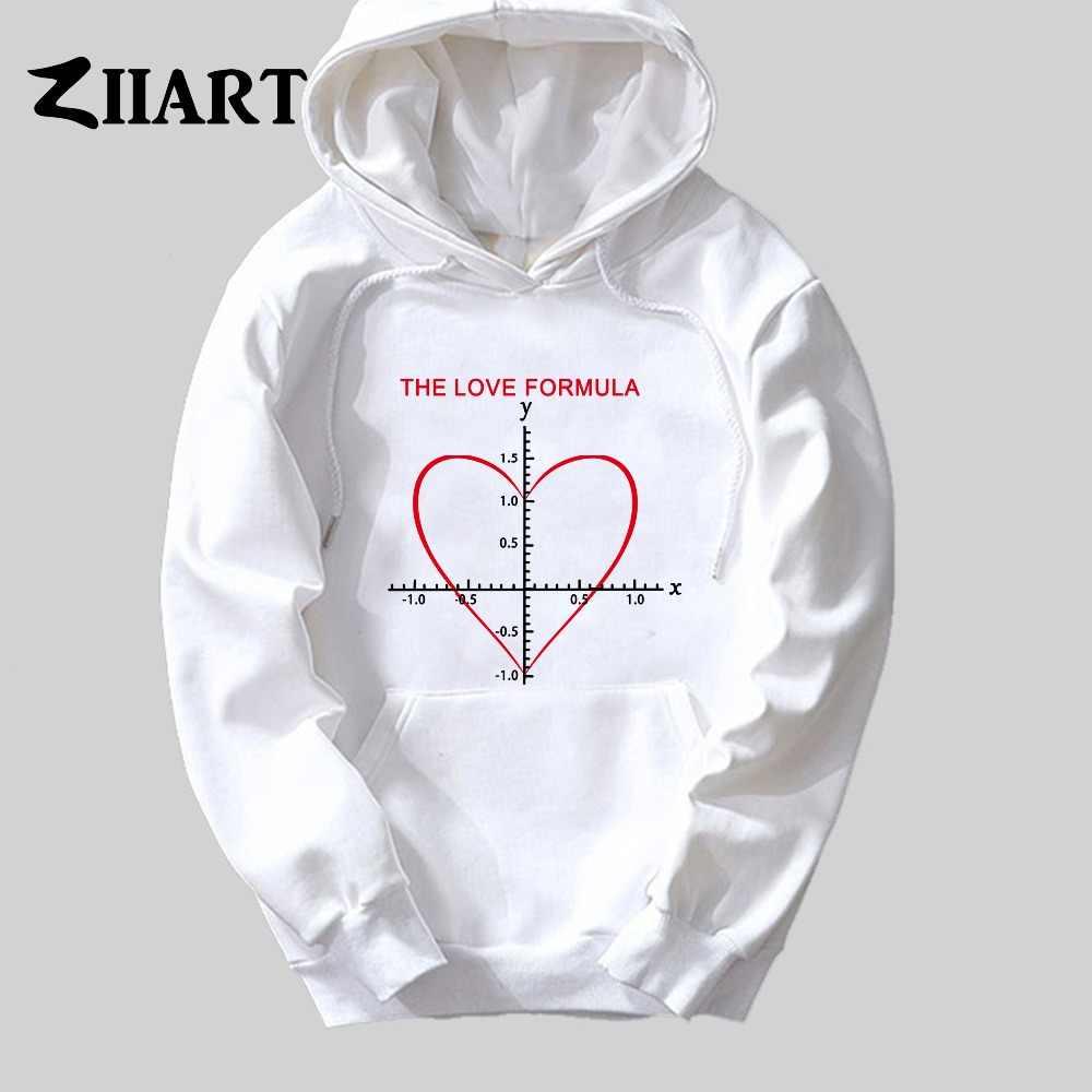 Cinta Rumus Persamaan Matematika untuk Pasangan Hati Pakaian Gadis Wanita Wanita Musim Gugur Musim Dingin Kapas Bulu Hoodie