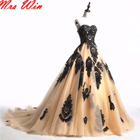 Vintage Gothic Wedding Dresses 2017 Black Champagne Sweetheart Lace Ball Gown Colorful Wedding Gowns With Color Custom Made