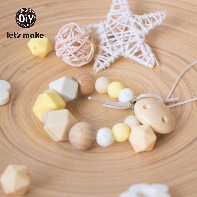 Let 'S Make Baby Teetherซิลิโคนลูกปัด 14 มม.10Pc HexagonลูกปัดหนูซิลิโคนเกรดอาหารDIY Teethingสร้อยคอลูกปัดสีเหลือง