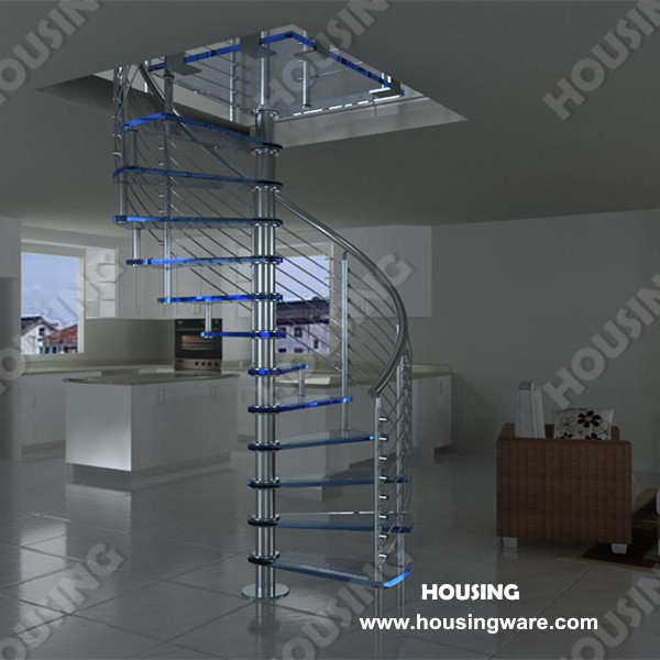 Tempered Glass Tread And Stainless Steel Spiral Stairs For Indoor Usage
