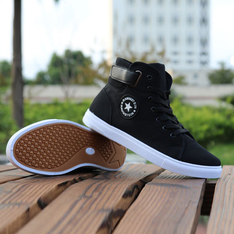 Mens High-top Canvas Shoes Men 2019 New Spring Autumn Top Fashion Sneakers Lace-up High Style Solid Colors Man Black Shoes KA853 Multan