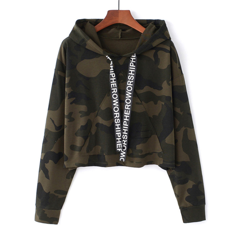 MERRY PRETTY Women Camouflage Printed Cropped Hoodies Sweatshirts Long Sleeve Tracksuit 2018 Autumn ArmyGreen Hooded Pullovers