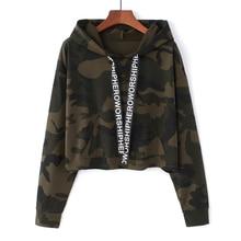 MERRY PRETTY Women Camouflage Printed Cropped Hoodies Sweatshirts