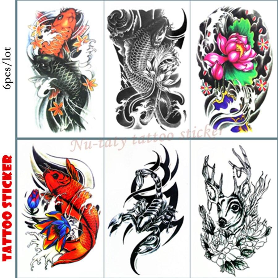 101a15ef2 Nu-TATY Chinese carp Temporary Tattoo Body Art Arm Flash Tattoo Stickers  12*20cm Waterproof Tatto Henna Fake Tatoo