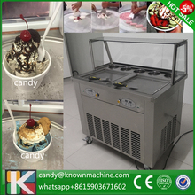 ship by sea 5 toppings double square pan fried ice cream machine with glass cover with 110V to USA