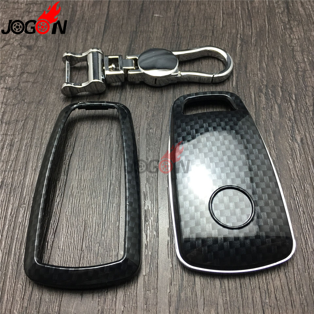 Carbon Fiber Look Smart Key Fob Case Bag Shell Holder Key Chain Ring