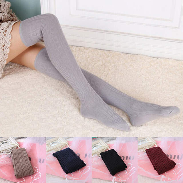 b86ab991a34 placeholder 2018 Woman Lady  s Wool Braid Over Knee Socks Thigh Highs Hose  Stockings Twist
