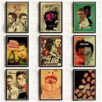 17 película clásica Brad Pitt película Fight Club Retro cartel buen Kraft adornos de pared de papel café decoración de pared para Bar pegatina/pintura