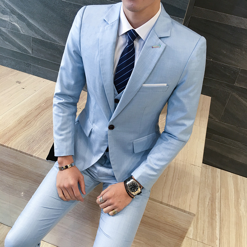 Mens Suit Costume Three-Pieces-Suit Garments-Spring Wedding-Suits Business Thin for Homme
