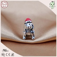 New Arrival High Quality Cute Animal Design 925 Sterling Silver Red Enamel Hat Dog Charm Fitting