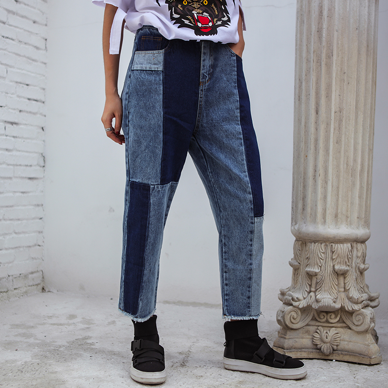 2018 summer new Harajuku letter mosaic thin section ladies jeans