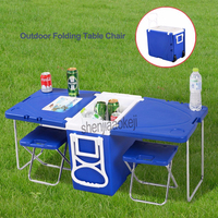 Multi Function Rolling Cooler With Table And 2 Chairs Picnic Camping Outdoor Portable Folding cold table fixed chair 1pc