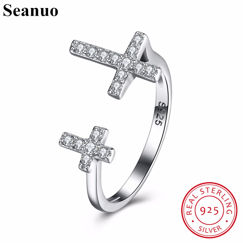 Seanuo Authentic S925 Sterling Silver Cubic Zirconia Double Jesus Cross Open Finger Ring Women Trendy Sexy Lady Party Ring Gifts