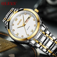 OLEVS High Quality Quartz waterproof Watch men Business Casual Stainless Steel Wristwatch mens Luminous Rhinestone clock men NEW olevs charm men business watches luminous hands clock watch day and date stainless steel bracelet waterproof wristwatch for man