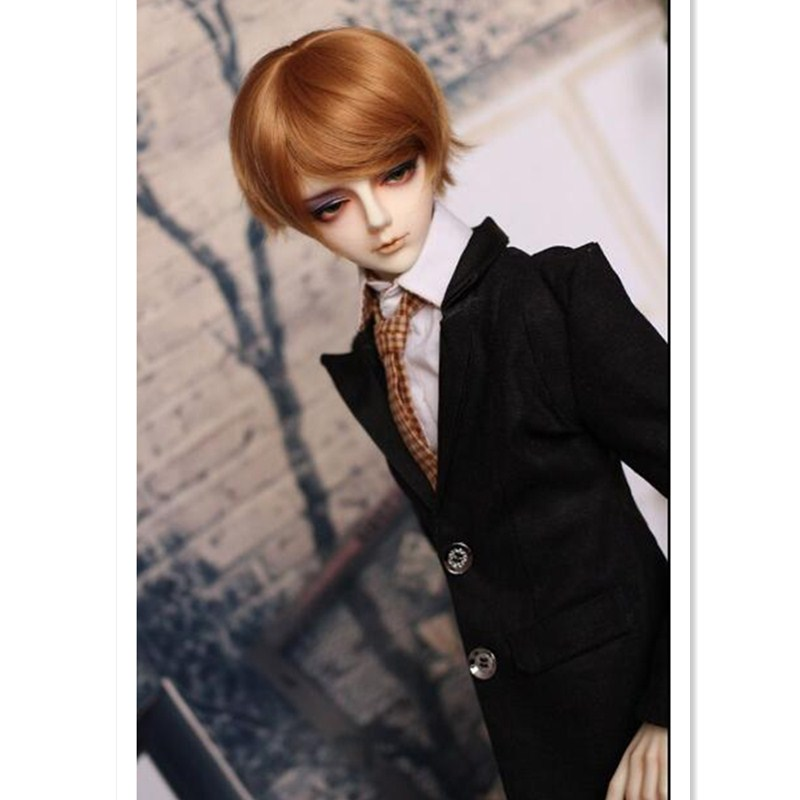 BEIOUFENG 1/3 1/4 1/6 1/8 High-Temperature Wig Boy Short Wigs SD BJD Wig with Bangs Fashion Type Stylish Hair Wigs for Dolls classic femal long black wigs with neat bangs synthetic hair wigs for black women african american straight full wigs false hair