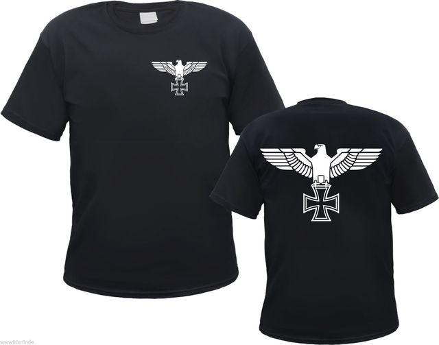 Imperial Eagle เสื้อยืด   เหล็กข้ามด้านหน้าและด้านหลัง   S to 3XL   Iron Cross