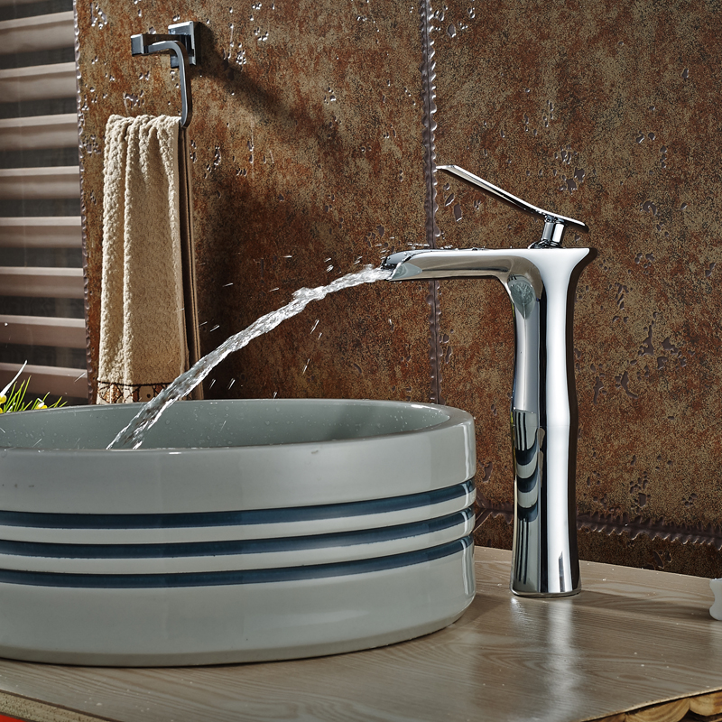 Bathroom Single Handle Basin Sink Faucet Chrome Waterfall Bathroom Mixer Tap Deck Mounted